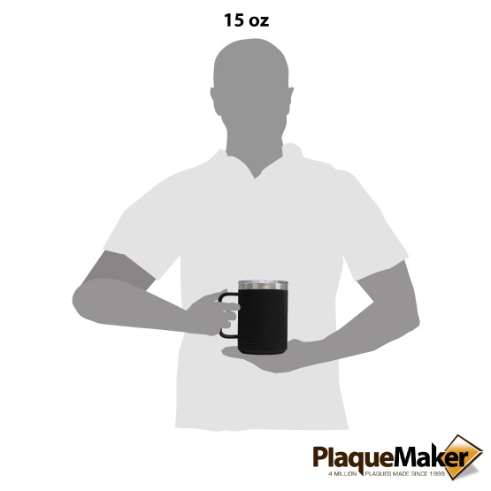 15 oz Black Tumbler Mug Size
