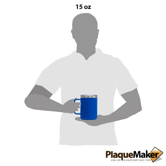 15 oz Royal Blue Tumbler Mug Size