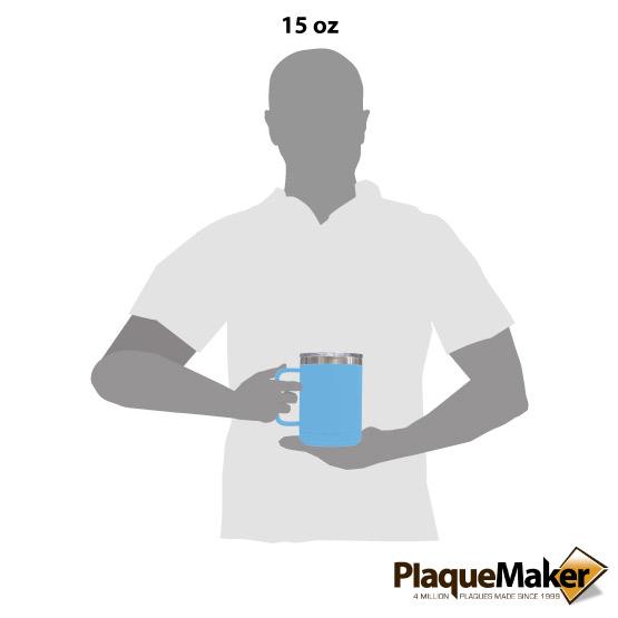15 oz Light Blue Tumbler Mug Size