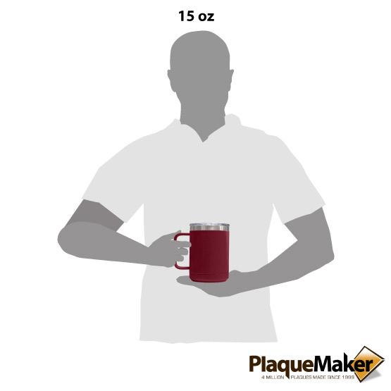 15 oz Maroon Tumbler Mug Size