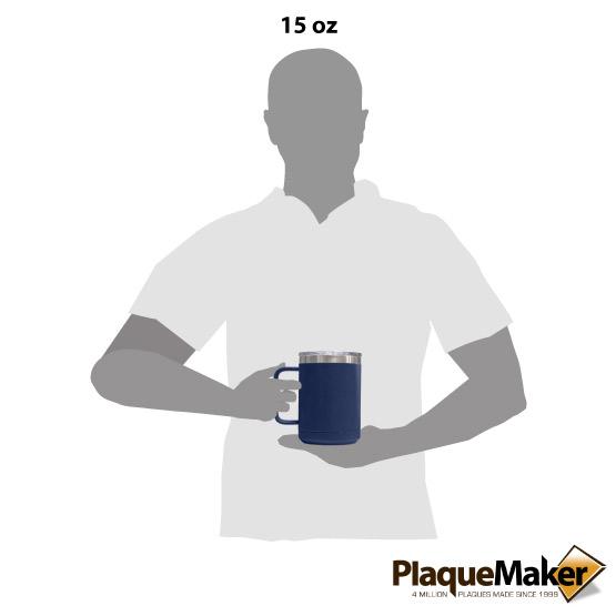 15 oz Navy Tumbler Mug Size