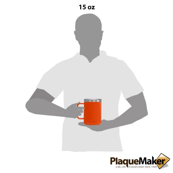15 oz Orange Tumbler Mug Size