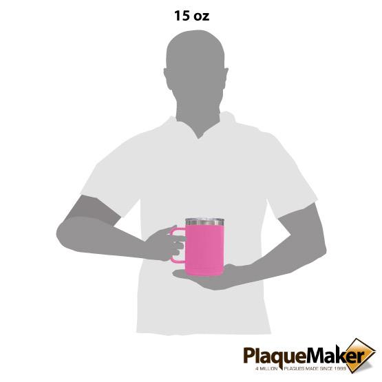 15 oz Pink Tumbler Mug Size