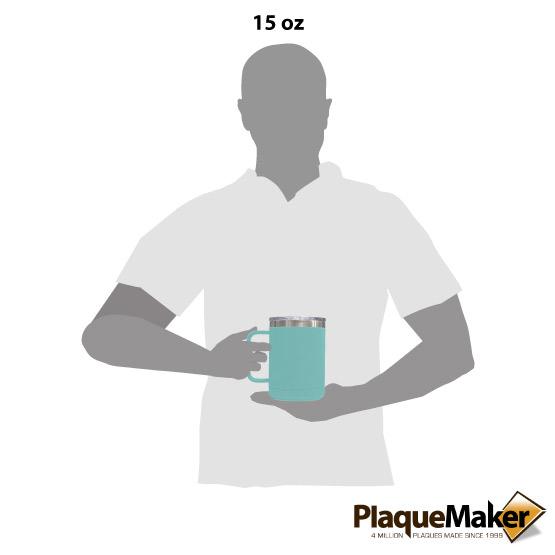 15 oz Teal Tumbler Mug Size