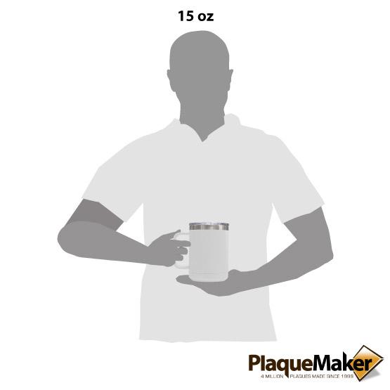 15 oz White Tumbler Mug Size