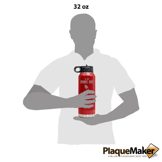Bonus Dad Red Water Bottle Size