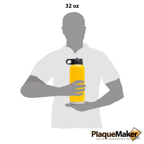 Yellow Insulated Water Bottle Size