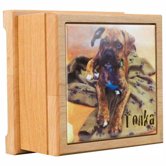 Pet Cremation Urns Red Alder Wood With Color Tile