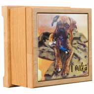 Pet Cremation Urns - Red Alder Wood with Color Tile