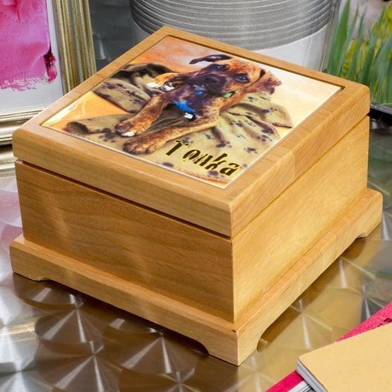 Pet Cremation Urns - Red Alder Wood with Color Tile
