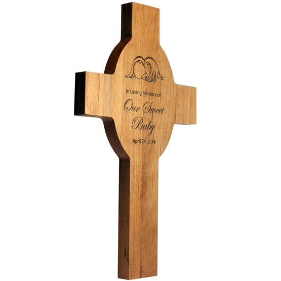 Personalized Cross - Red Alder Wood