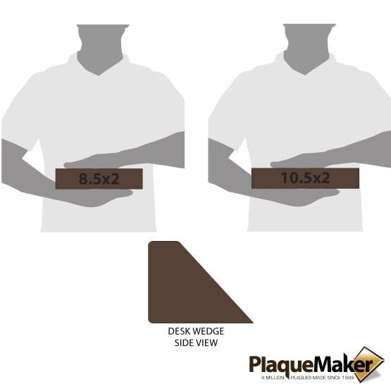 Dark Brown Leatherette Desk Wedge Size Comparison
