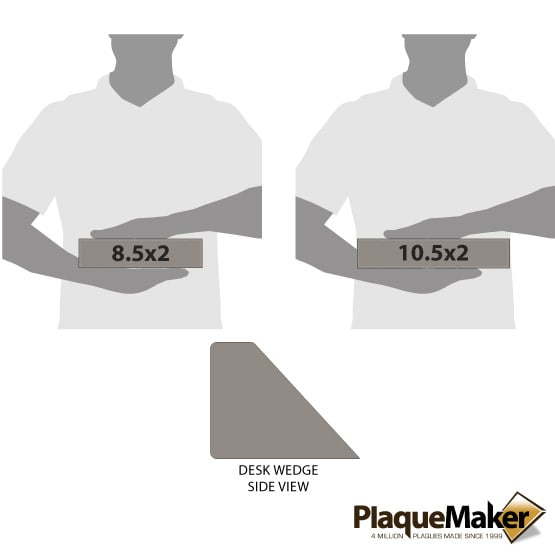 Gray Leatherette Desk Wedge Size Comparison