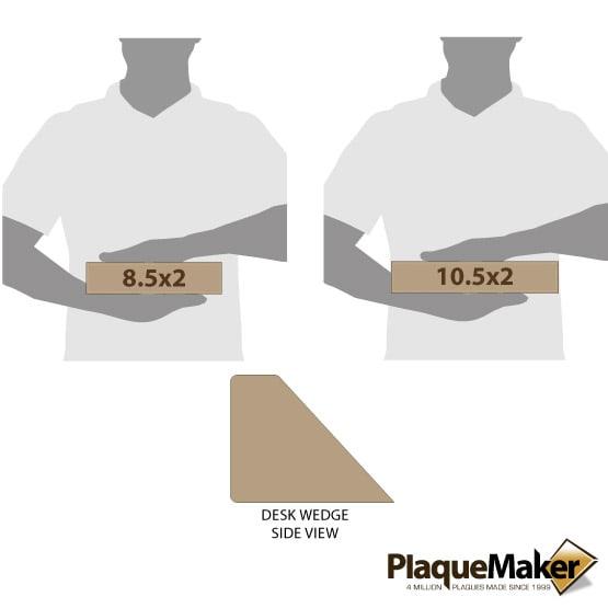 Light Brown Leatherette Desk Wedge Size Comparison