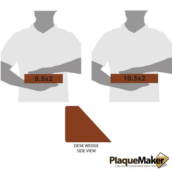 Rawhide Leatherette Desk Wedge Size Comparison