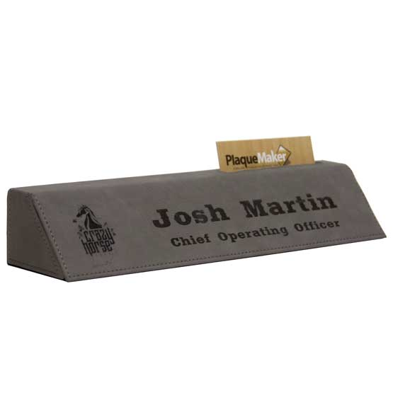 Gray Leatherette Desk Wedge with Business Card Holder Size Guide