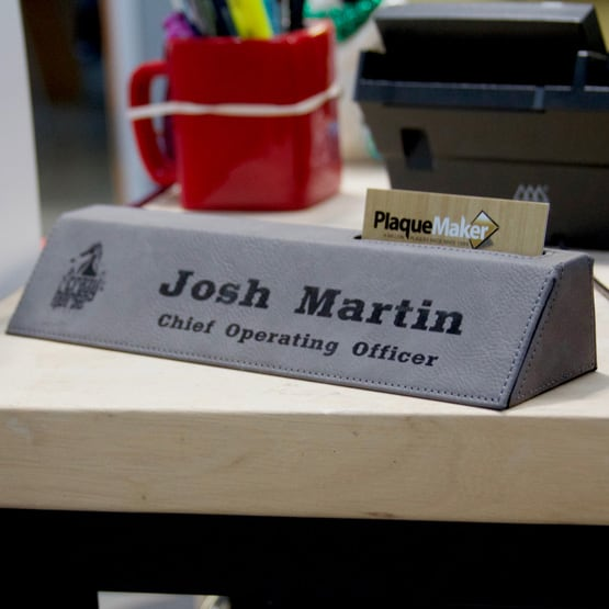Gray Leatherette Desk Wedge with Business Card Holder