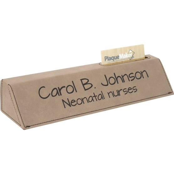 light brown desk wedge w business card holder