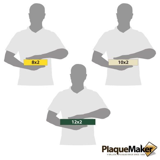 Plastic Economy Desk Name Plates Size Guide