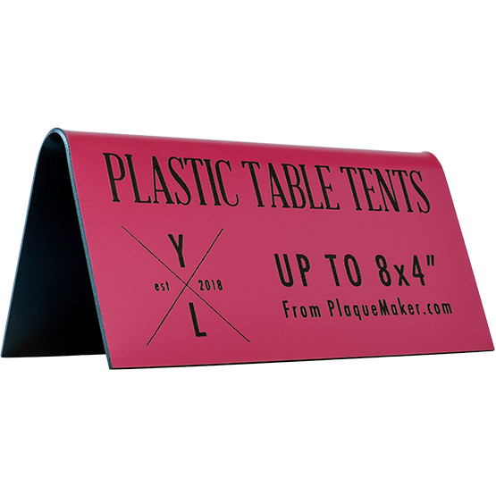 Table Tents Made Of Plastic Plastic Table Top Tent From PlaqueMaker - Plastic table tents