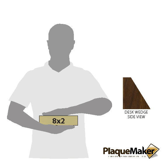 "Quick Ship: Walnut Desk Wedge - 8""x2"" Size Guide"