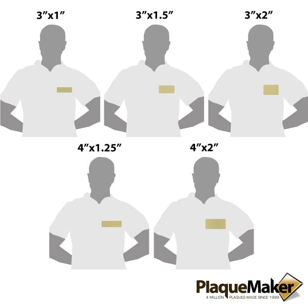 Medical Name Tags - Aluminum - Size Guide
