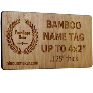 Laser Engraved Bamboo Name Tag