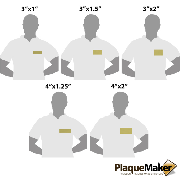 Brass Magnetic Name Badge Sizes