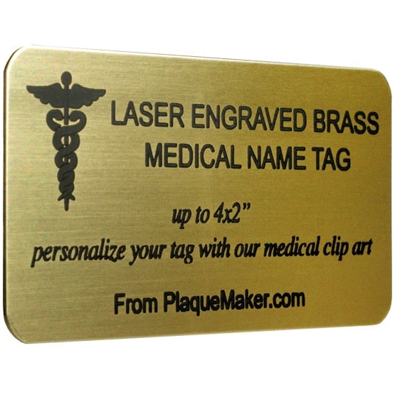 Brass Medical Name Tag