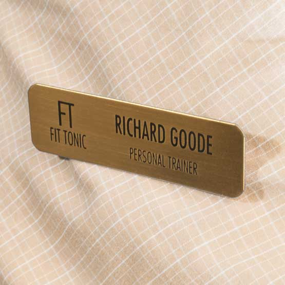 bronze magnetic name badge