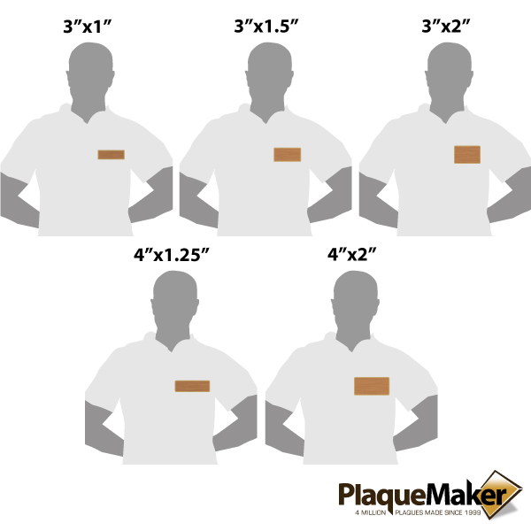 Bronze Magnetic Name Badge Size Gui