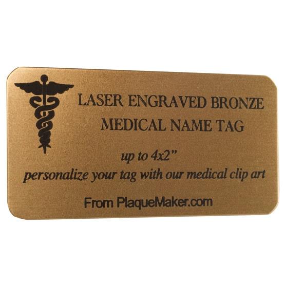 bronze medical name tag
