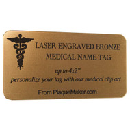 bronze medical name tag