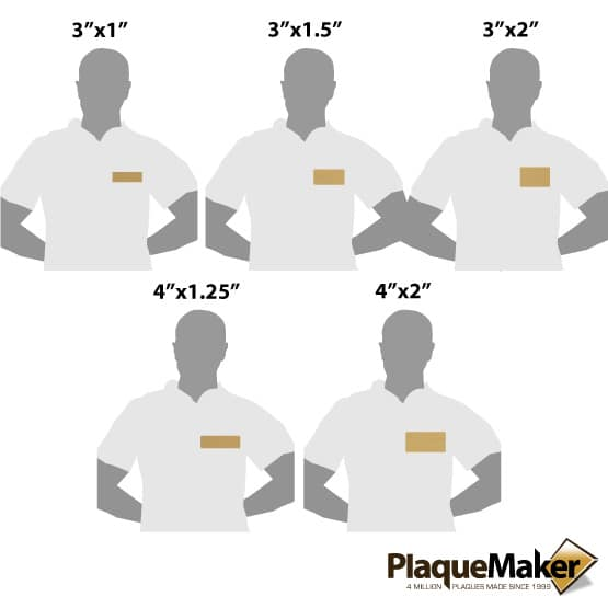 Bronze Metal Name Tag Size Guide