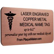 Copper Medical Name Tag