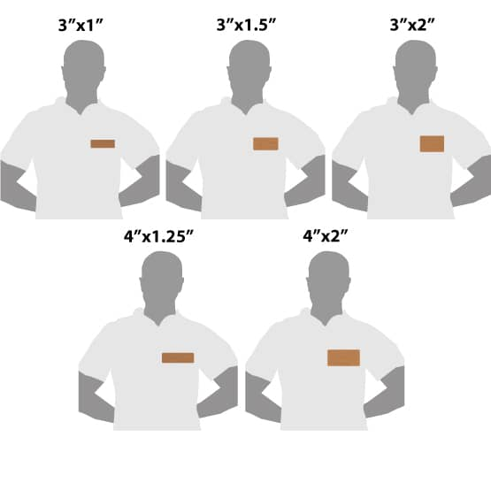 Copper Name Tags Size Guide