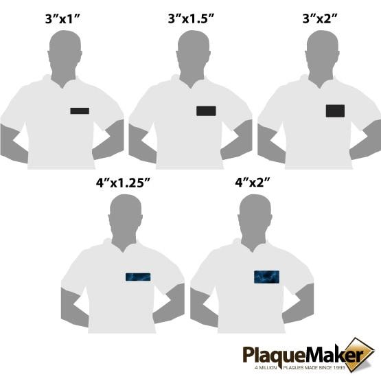 laser metal magnetic name badge size guide