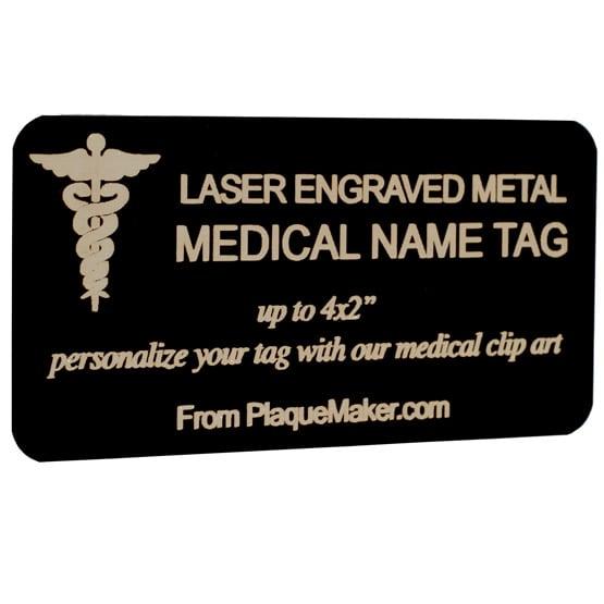 laser metal medical name tag