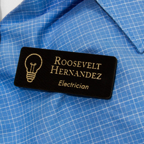 Faux Leather Black Name Tag
