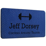Faux Leather Blue Name Tags