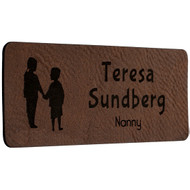 Faux Leather Dark Brown Name Tags