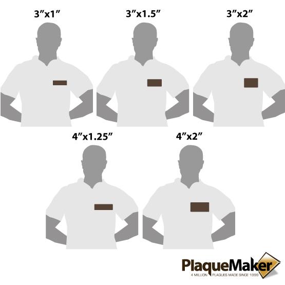 Dark Brown Name Tags Sizes