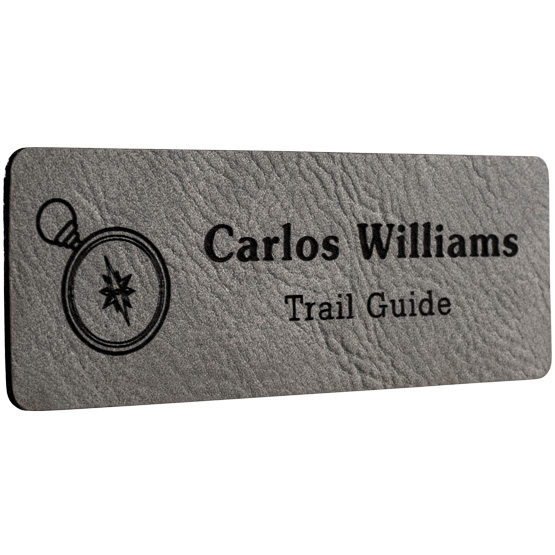 Faux Leather Gray Name Tags