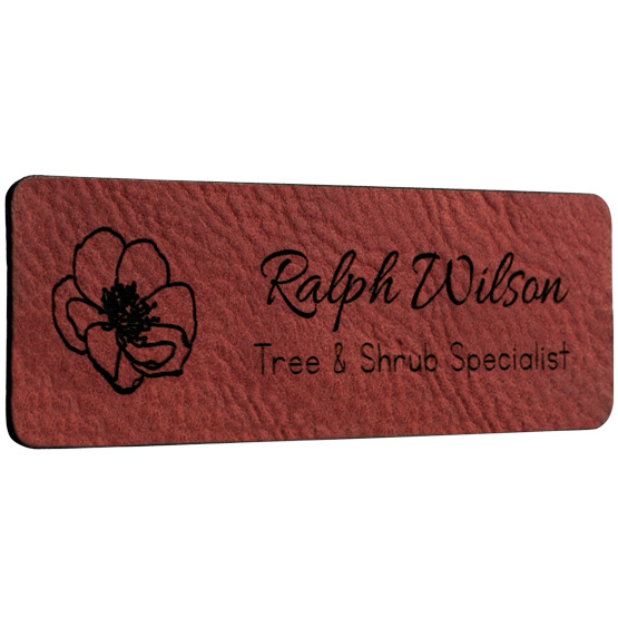 Faux Leather Rose Name Tags