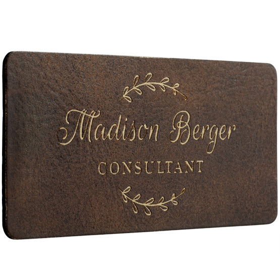 Faux Leather Rustic with Gold Name