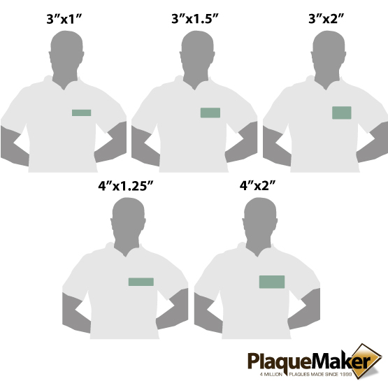 Teal Name Tags Sizes