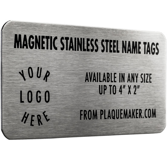 Magnetic Name Badge - Stainless Steel - up to 4