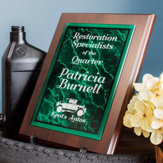 green acrylic plaque
