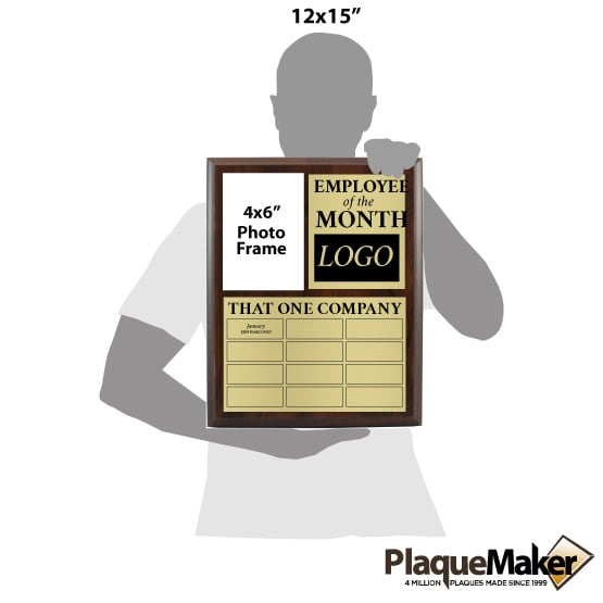 Employee of the Month Photo Perpetual Plaque Size Guide