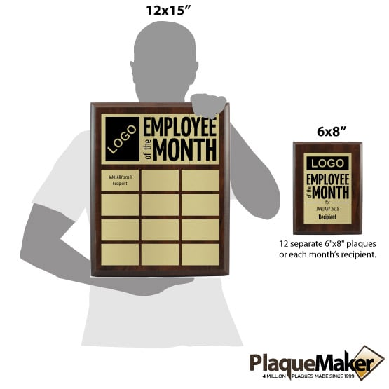 Employee of the Month Plaque Set - Set 1 Size Guide